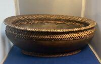 Vintage Large handmade Native American oval Wooden  Basket Tray