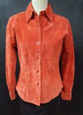 Alfani Size Small Orange Suede Leather Shirt Button Front Long Sleeve