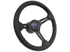 1984 - 2004 Ford Mustang Black Leather Steering Wheel Kit w/Blue Pony 3D Emblem