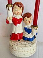 Vintage Christmas Music Box Candle Holders Japan Rotating Plays Silent Night
