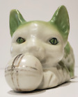 Vintage Porcelain Kitten - Green & White  with Ball of Yarn. Post WWII Japanware