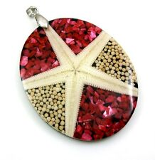 Natural Starfish Mother of Pearl Shell and Coral Pendant Women Jewelry EA278