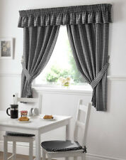 "Gingham Check Black White W46 X L42"" Pencil Pleat Kitchen Curtains With Tiebacks"