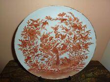 18/19THC in porcellana cinese con piatto 24.8CM Rosso/dorati 2 VOLATILI & Fiore/Foglia Deco