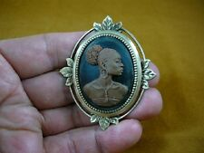 CA20-14) RARE African American LADY brown + black oval CAMEO Pin Pendant JEWELRY