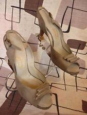 50s Moderne Peep Toe Slingback Shoes I. Miller Sz 6.5 Dove Gray Suede Clip Trim