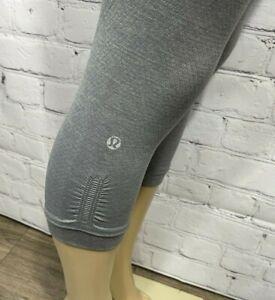 Lululemon Women's 4 Yoga Pants Tight Leggings Gray Crop Capri High Rise