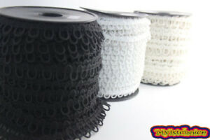 Nortexx Button Looping Black/White/Cream 10mm Wide Elastic Loops
