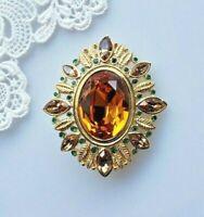 Napier signed brooch huge golden topaz and green rhinestone oval vintage 1960s
