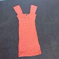 River Island Orange Peach Dress Size 8 Good Condition Christmas party
