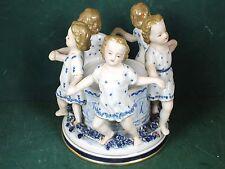 Zier Porzellan Schale Bonboniere 5 Mädchen tanzen Ringelreihen blau / Weiß