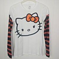 Hello Kitty Juniors Shirt Size Large Halloween Pumpkin Long Sleeve Bats Sanrio
