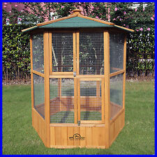 Pets Imperial Large Wooden Hexagonal Bird Aviary Cage Birds Parrot Canary