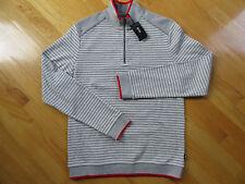 NWT Hugo Boss Gray, White and Red 1/4 Zip Men's Sweatshirt Size Large