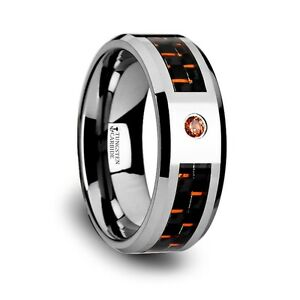 Tungsten Ring with Black and Orange Carbon Fiber and Orange Sapphire.Size 3-13