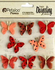 BUTTERFLY Mix RED Printed 8 Teastained Paper  20-25mm Darjeeling Petaloo Ver