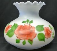 "7"" Fitter Crimp Top Student Oil Lamp Shade Hand Painted Roses Blue Milk Glass"