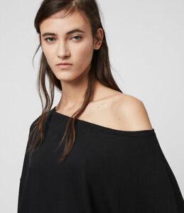 All Saints Womens Rita Black Designer Long Sleeve Drop Shoulder T-Shirt Tee Top