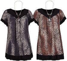 Animal Print V Neck Short Sleeve Tops & Shirts for Women