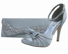 Wedding Party Heeled Shoes Sandals Silver Satin High Heels NEW