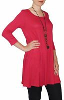 New 3/4 Sleeve Red Stretch Tunic Top Shirt Blouse Dress S M L Plus Size
