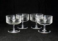 Ornate Cut Crystal Rose Pattern Champagnes or Sherbets ~ Set of 4