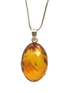 Natural Baltic amber faceted pendant brown color with sterling silver 925