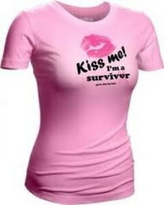 NEW Save the Tatas Kiss Me I'm a Survivor Pink 100% Cotton T-Shirt Top 18/20 2x