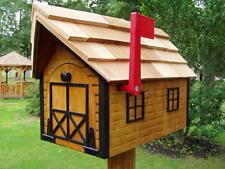 Amish Handmade Handcrafted Rural Mailbox w Flag USPS  Log Cabin Black Trim