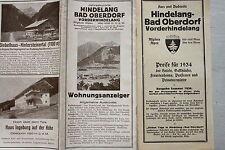 7959 Reise Falt Prospekt Wohnungsanzeiger 1934 Hindelang Bad Oberdorf mit Plan
