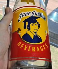 2694~Vtg 40s Clear Glass ACL JANE JUSTICE Qrt Girl Soda Bottle Terre Haute, IN**