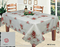 Christmas Embroidered Red Poinsettia Tablecloth & Napkins Holiday Ivory 6712