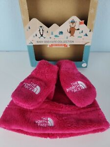 The North Face Infant Beanie Mitten 0-6 Months Baby Girl Pink Set New$45