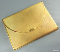 Coty Envelope Powder Compact 1954 Brass Puff Signed Unused Book Piece Vintage