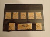 Posthorn Sammlung auf Steckkarte mit  Mi 136 alle gestempelt BRD Bund 1951