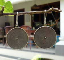 Solid Silver, 925 Texture Balinese Plain Design Earring 36046