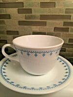 Corelle Snowflake Blue Vintage Corning Ware Set of 4 Saucers And 4 Tea Cups