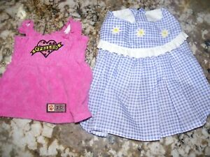 DOG DRESSES LOT SIZE X SMALL AMERICAN DOG OUTFITTERS~Pink Spoiled~Blue Gingham