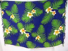 US SELLER-Bali rayon Aloha Hawaiian plumier flower green leaf blue sarong