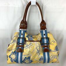 Tyler Rodan Yellow Blue Floral Paisley Fabric Double Handle Satchel Purse