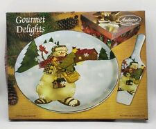 Gourmet Delights Holiday Cake Plate and Server Woodland Snowman 2pc #23409