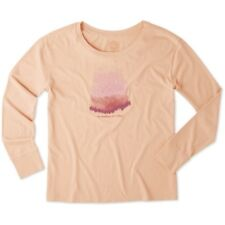 WOMEN'S LIFE IS GOOD MOUNTAIN MEADOW LS BREEZY TEE T-SHIRT CHALKY PEACH M MEDIUM
