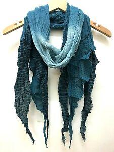 Boho hippy goth dip dye BLUE long STEAMPUNK  LETTUCE OF LONDON scarf wrap gift