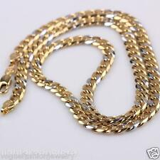 2-Tone Womens/Mens Necklace 18K Yellow White Gold Filled Curb Link Chain Jewelry