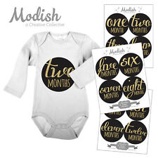 FREE GIFT, Monthly Baby Stickers, Baby Girl, Black, Gold