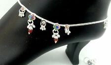 INDIAN BELLY DANCE JEWELRY SILVER PLATED ENAMEL BELLS ANKLET BRACELET PAYAL #193