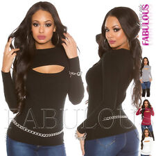 New Sexy Women's Cut Out Jumper Pullover Ribbed Sweater Top Size 6 8 10 XS S M