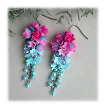HANDCRAFTED Fashion polymer clay Fimo PRETTY flower Dangle EARRINGS HANDMADE