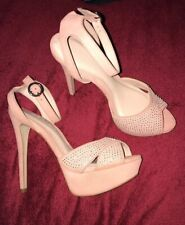 NEW OFFICE HIGH HEEL/PLATFORM SHOES Diamanté Detail Nude/Pink Suede Leather s.5