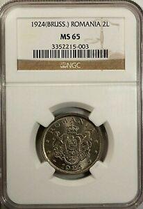 Romania 2 Lei 1924  NGC MS 65 UNC Copper Nickel Brussels Mint